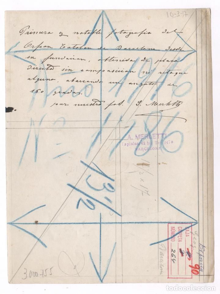 Fotografía antigua: VISTA ANGULAR DEL PALAU DE LA MÚSICA, BARCELONA 1916, Merletti foto, ver anotaciones reversas. - Foto 2 - 83325764