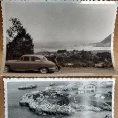 Fotografía antigua: DOS FOTOGRAFIAS ORIGINALES DE ARENILLAS, PROXIMO A SANTANDER, AÑO 1958, BONITA VISTA Y COCHE ANTIGUO. Lote 86291188