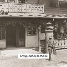 Fotografía antigua: EXTRAÑO RELOJ Y FAROLAS ELÉCTRICAS. CRISTAL NEGATIVO 9X12 CM. POSIBLEMENTE SUIZA 1890.. Lote 93788445