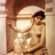 Fotografía antigua: 2 DESNUDOS FEMENINOS DE ORIENTE MEDIO. GELATINA PLATA COLOR SEPIA. LENHERT-LANDROCK. TUNEZ. 1910. Lote 94022725