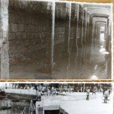 Fotografía antigua: FOTOGRAFIAS BERMEO (VIZCAYA) 17,5 X 12 CM. DETALLE PROLONGACION DEL MUELLE DE LA COFRADIA AÑO 1952. Lote 99665399