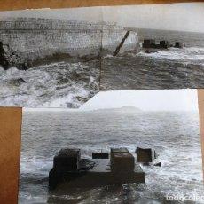 Fotografía antigua: FOTOGRAFIAS BERMEO (VIZCAYA) DETALLE ESPIGON LOS DESTROZOS DE LA BAJAMAR JULIO 1943 Y ALARGAMIENTO. Lote 99666587