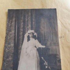 Fotografía antigua: FOTO CARTON NIÑA PRIMERA COMUNION VESTIDO . Lote 100068491