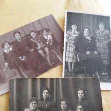 Fotografía antigua: 3 FOTOS MUJERES Y NIÑAS VESTIDOS FAMILIA DE VALDEPEÑAS 1 SELLO ROMAN PRIETO. Lote 100070279