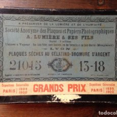 Fotografía antigua: PLACAS FOTOGRÁFICAS AL GELATINO-BROMURO DE PLATA. A.LUMIÈRE. Lote 101369995