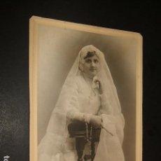Fotografía antigua: RETRATO DE NIÑA PRIMERA COMUNION 12 X 17 CMTS HACIA 1910. Lote 103882187