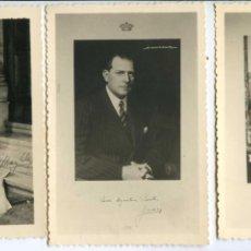 Fotografía antigua: TRES FOTOGRAFÍAS, DON JUAN, Y JUAN CARLOS EN SU BODA, DEDICADAS A UN MONÁRQUICO, COPIAS DE 1963. Lote 109060619