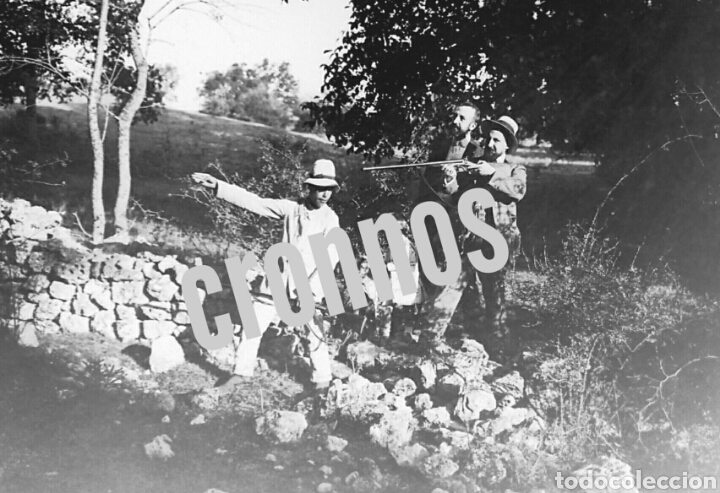 FOTO ANTIGUA DE CAZA. PLACA DE CRISTAL GELATINO-BROMURO 1910 (Fotografía Antigua - Gelatinobromuro)