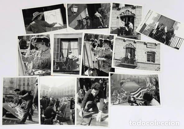 LOTE FOTOGRAFIAS 7X10 CM DEL CONCURSO DE PINTURA DEL MERCAT DEL RAM DE VIC 1968 (Fotografía Antigua - Gelatinobromuro)