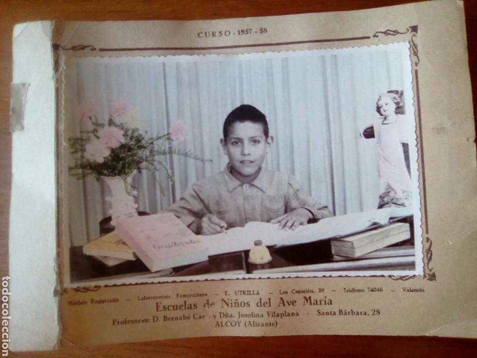 FOTO ESCOLAR CURSO 1957-58 ESCUELAS DE NIÑOS DEL AVE MARÍA ALCOY, ALICANTE (Fotografía Antigua - Gelatinobromuro)