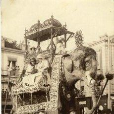 Fotografía antigua: MURCIA. 'ELEFANTE' CARROZA PRESENTADA POR EL CASINO. PREMIO DE HONOR EN LA BATALLA DE FLORES DE 1913. Lote 127524823