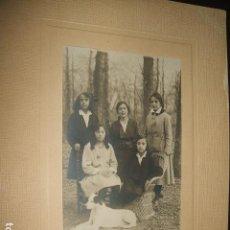 Fotografía antigua: GUADALAJARA RETRATO DE NIÑOS CON PERRO J. GAVILANES FOTOGRAFO HACIA 1915 16 X 22 CMTS. Lote 128162503