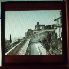 Fotografía antigua: GRANADA.LA TORRE DE LA VELA.PLACA CRISTAL ORIGINAL.HACIA 1890,82X82MM.RARA.. Lote 133768130