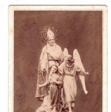 Fotografía antigua: FOTOGRAFIA ESCULTURA RELIGIOSA S. BLAS Y ANGEL DE LA GUARDA REALIZADA POR FRANCISCO FONT Y PONS.. Lote 134359030