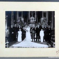 Fotografía antigua - Fotografía gelatinobromuro boda militar uniforme interior iglesia Nuño Madrid años 30 - 137330378