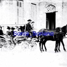 Fotografía antigua: PALACIO TORRE VELLISCA. CARRUAJE. FONTANARS DELS AFORINS C.1900 CRISTAL NEGATIVO. Lote 141591186