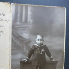 Fotografía antigua: RETRATO DE NIÑO VESTIDO DE MARINERO MADRID ALFONSO FOTOGRAFO. Lote 154695186