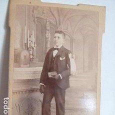 Fotografía antigua: FOTO NIÑO COMUNION FOTOGRAFO A .UNAL .GIRONA. Lote 155110646