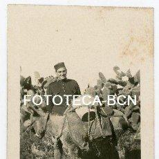 Fotografía antigua: FOTO ORIGINAL SOLDADO DE REEMPLAZO CON BURRO POSIBLEMENTE PROTECTORADO ESPAÑOL MARRUECOS AÑOS 20. Lote 156839942