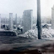 Fotografía antigua: PLACA CRISTAL GELATINO BROMURO AÑO 1900 CONSTRUCCIÓN EDIFICIO BARCELONA.. Lote 162358070
