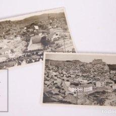 Fotografía antigua: PAREJA DE FOTOGRAFÍAS DE ARNEDO, LA RIOJA - PARTIDO DE PELOTA A MANO - FOTO PACO, AÑOS 50-60. Lote 162692214