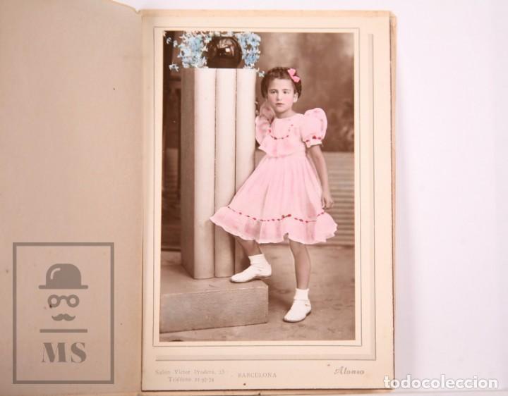 ANTIGUA FOTOGRAFÍA EN COLOR - RETRATO DE NIÑA - FOT. ALONSO, BARCELONA - AÑOS 40-50 (Fotografía Antigua - Gelatinobromuro)