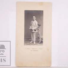 Fotografía antigua: ANTIGUA FOTOGRAFÍA - RETRATO DE NIÑO VESTIDO DE PRIMERA COMUNIÓN - E. BELTRÁN, ZARAGOZA. Lote 168571740