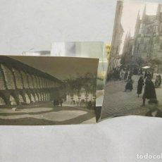 Fotografía antigua: PAREJA DE FOTOGRAFÍAS DE SEGOVIA. ACUEDUCTO Y PLAZA DE LA CATEDRAL CON GENTE. SIGLO XX.. Lote 169785672