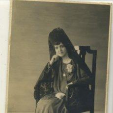 Fotografia antiga: MUJER EN MANTILLA ADELA VALLANO FECHADA 9/6/1927 ESTUDIO TANGELY CALLE SAN BERNARDO MADRID MIDE 13,5. Lote 177840709