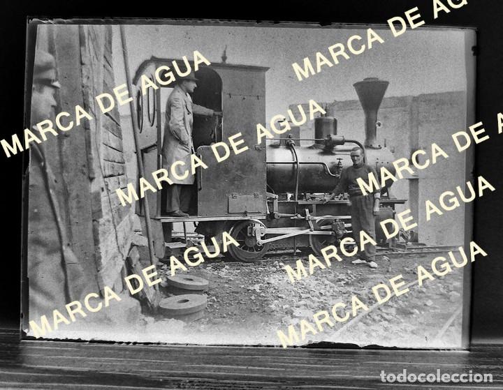 ANTIGUO NEGATIVO CRISTAL LOCOMOTORA VAPOR PRINCIPIOS SIGLO XX (Fotografía Antigua - Gelatinobromuro)