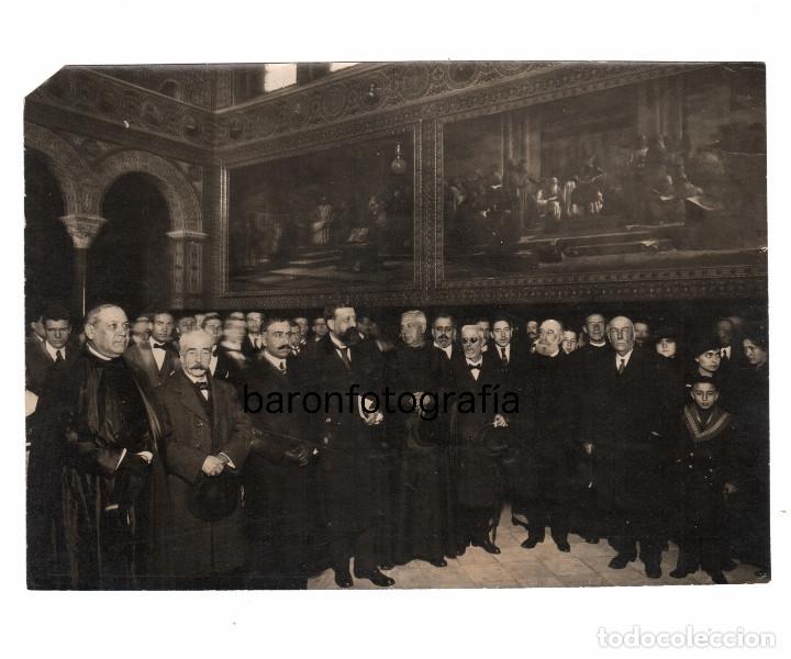 UNIVERSIDAD DE BARCELONA, INAUGIRACIÓN EXPOSICIÓN LULIANA. AÑO 1916. FOTO: MERLETTI. 15X21 CM. (Fotografía Antigua - Gelatinobromuro)