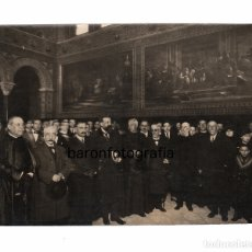 Fotografía antigua: UNIVERSIDAD DE BARCELONA, INAUGIRACIÓN EXPOSICIÓN LULIANA. AÑO 1916. FOTO: MERLETTI. 15X21 CM.. Lote 182280807