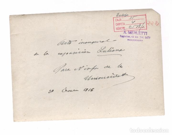 Fotografía antigua: Universidad de Barcelona, inaugiración exposición Luliana. Año 1916. Foto: Merletti. 15x21 cm. - Foto 2 - 182280807