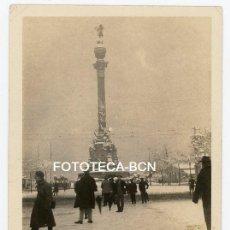 Fotografía antigua: FOTO ORIGINAL BARCELONA MONUMENTO A COLON NEVADA AÑOS 20/30. Lote 184336168