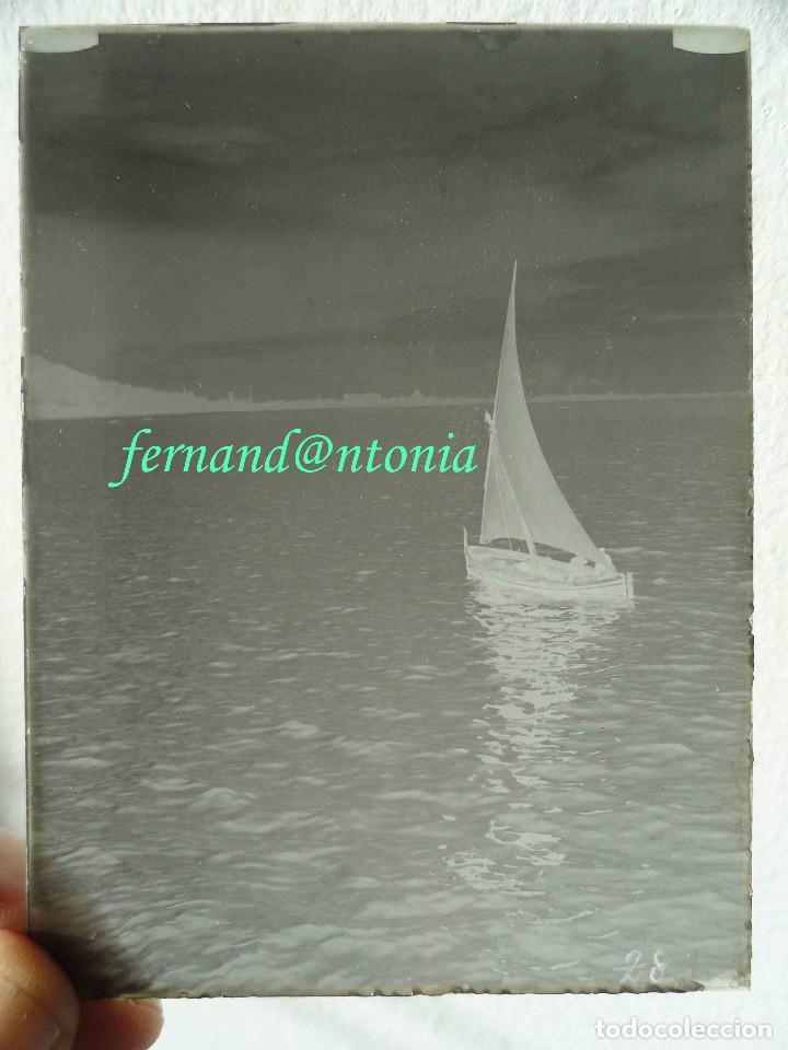 Fotografía antigua: Velero delante de Montjuic. NEGATIVO EN CRISTAL 9 x 12, inicio siglo XX - Foto 2 - 189085061