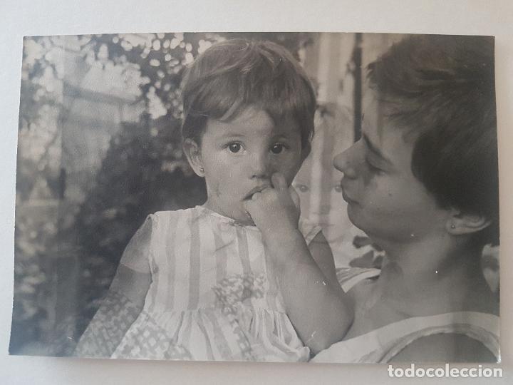 RETRATO MADRE E HIJO CON IMAGEN SUPERPUESTA (Fotografía Antigua - Gelatinobromuro)