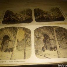 Fotografía antigua: DOS ANTIGUAS VISTAS ESTEREOSCÓPICAS DE TARRAGONA. PORTAL DE SAN ANTONIO Y PLAZA DE LA CONSTITUCIÓN.. Lote 191936683