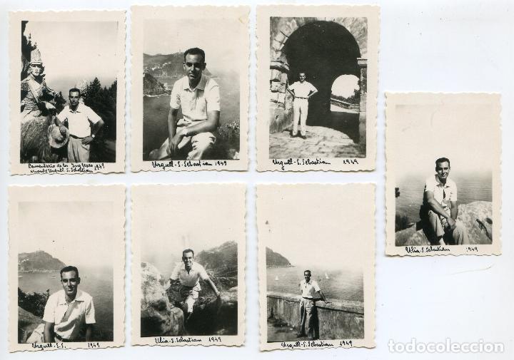 LOTE 7 FOTOS SAN SEBASTIÁN, MONTE URGULL, CEMENTERIO DE LOS INGLESES 1949 4,5X6,3 CM (Fotografía Antigua - Gelatinobromuro)