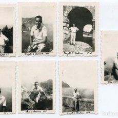Fotografía antigua: LOTE 7 FOTOS SAN SEBASTIÁN, MONTE URGULL, CEMENTERIO DE LOS INGLESES 1949 4,5X6,3 CM . Lote 193668573