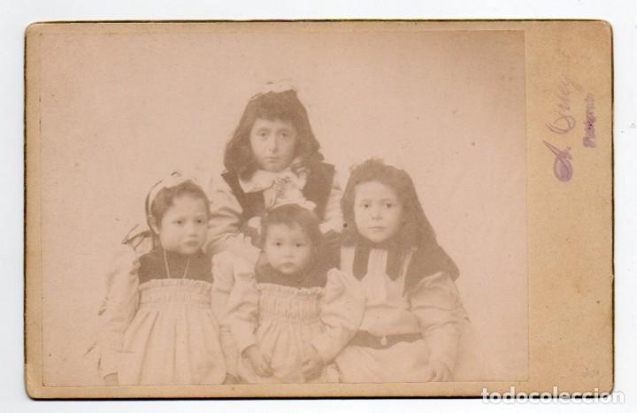 GRUPO DE 4 HERMANAS. A. ORTEGA FOTÓGRAFO. (Fotografía Antigua - Gelatinobromuro)