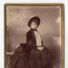 Fotografía antigua: SEVILLA. JUAN RODRIGUEZ FOTOGRAFO. RETRATO FEMENINO. SIGLO XIX.. Lote 195163170