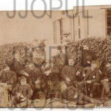 Fotografía antigua: GIJÓN. GRUPO DE APAGADORISTAS EN LOS JARDINES DE LA ISLA. 1882. ASTURIAS. ORIGINAL. FLORENCIO VALDES. Lote 195481996