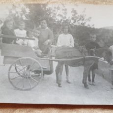 Fotografía antigua: FOTOGRAFÍA COSTUMBRISTA FAMILIA CON CARRO DE BORRICO W. Lote 199196810