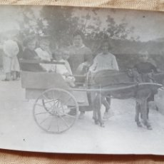 Fotografía antigua: ANTIGUA FOTOGRAFIA COSTUMBRISTA FAMILIA CON CARRO DE BORRICO 1920 W. Lote 199197067