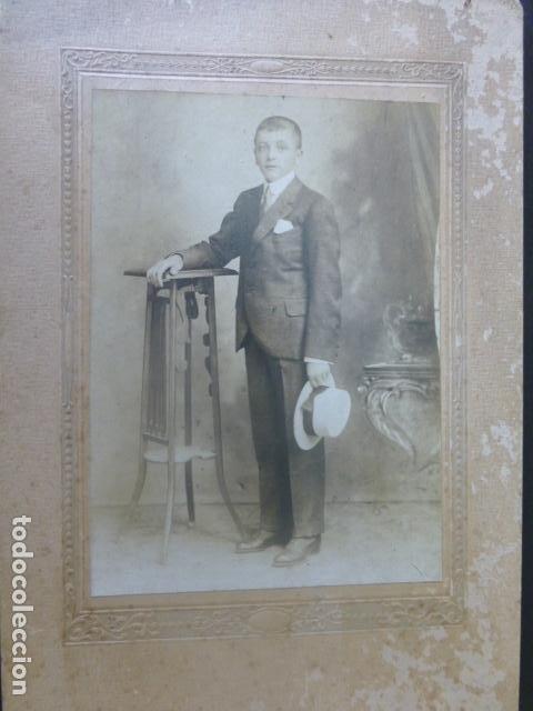 RETATO DE NIÑO CON SOMBRERO ANTIGUA FOTOGRAFIA HACIA 1920 (Fotografía Antigua - Gelatinobromuro)