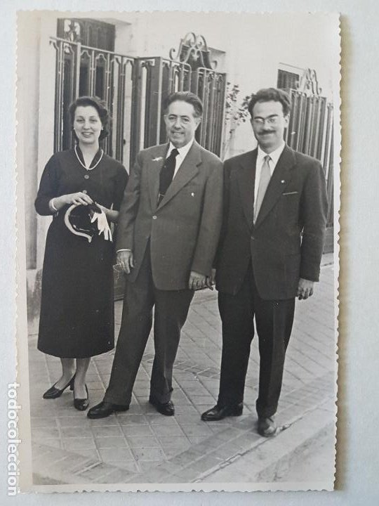 RETRATO GRUPO DE TRES MADRID FOTOGRAFO SACRISTAN 1955 (Fotografía Antigua - Gelatinobromuro)