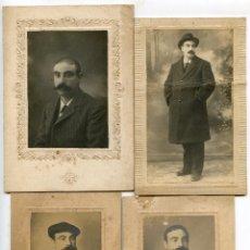 Fotografía antigua: CUATRO RETRATOS DEL MISMO CABALLERO CON BIGOTE, FOTÓGRAFO ANICETO, SANTANDER, 1904. Lote 209323413