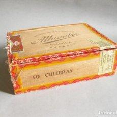 Fotografía antigua: CAJA VACÍA DE PUROS ALHAMBRA - 50 CULEBRAS - MANILA - MADE IN PHILIPPINES - VER FOTOS. Lote 210080165
