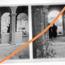 Fotografía antigua: POSITIVO DE FOTOGRAFÍA.CERCANÍAS DE BARCELONA. MONASTERIO. PLACA CRISTAL ESTEREOSCÓPICA. Lote 214372010