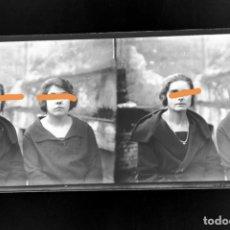 Fotografía antigua: NEGATIVO DE FOTOGRAFÍA. SEÑORITAS. CERCANÍAS DE BARCELONA.PLACA CRISTAL ESTEREOSCÓPICA. Lote 214375205